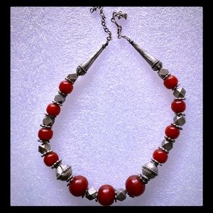 Beautiful Antique Silver and Bead Necklace